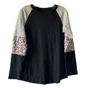 Long Sleeve Block Print Black T-shirt Size Small